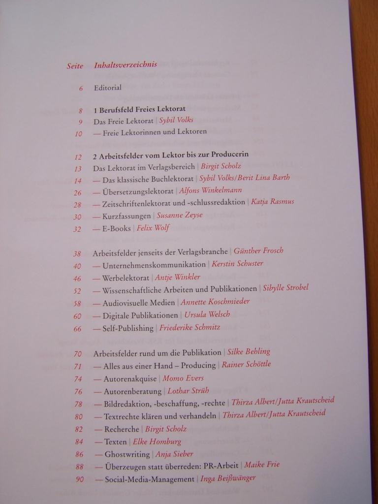 Inhaltsverzeichnis Seite 1 des Leitfadens Freies Lektorat