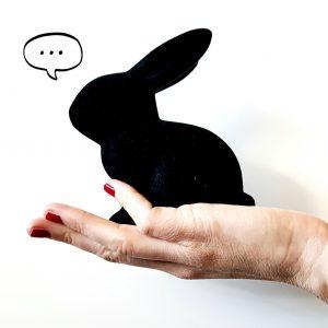 Weibliche Hand, in der ein schwarzer Hase sitzt